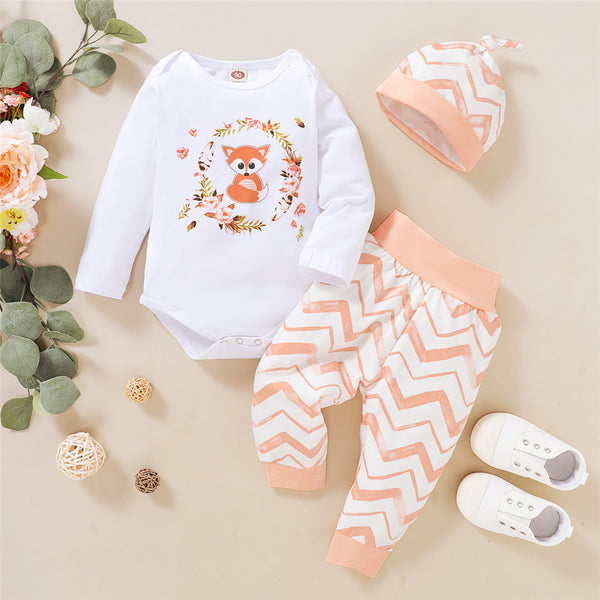 Baby Girls Fox Cartoon Floral Romper & Pants & Hat Cheap Bulk Baby Clothes