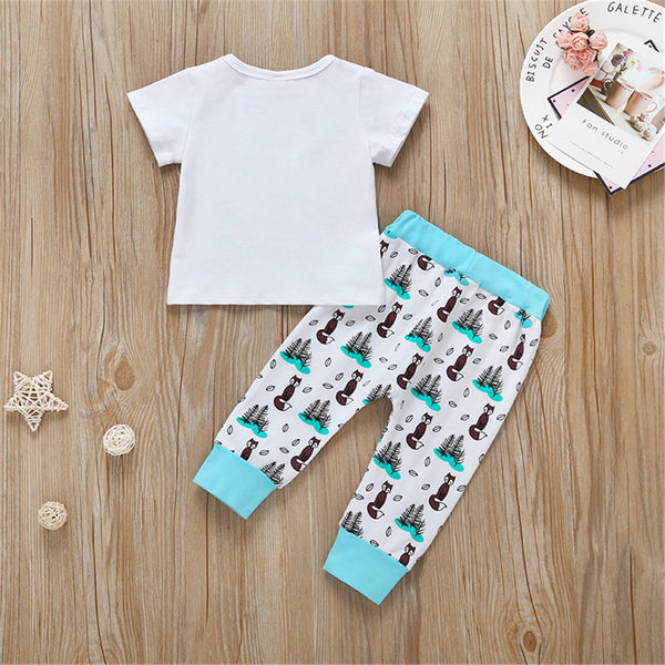 Baby Unisex Fox Little Dreamer Printed Short Sleeve Top & Pants cheap baby clothes wholesale