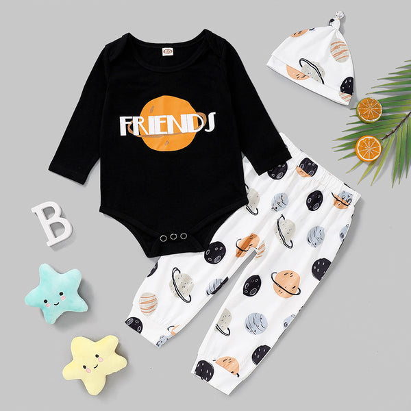 Baby Boy Friends Printed Long-Sleeve Romper & Printed Pants & Hat Baby Clothes Warehouse