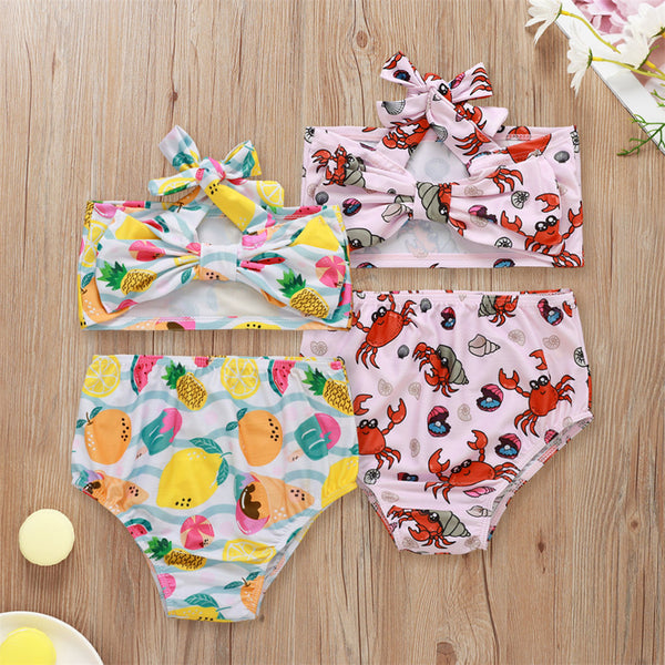 Girls Fruit Crab Printed 2 Pieces Swimming Suit 2 Piece Swimsuit With Shorts