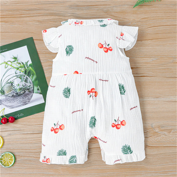 Baby Girls Fruit Leaf Printed Flying Sleeve Romper baby clothes wholesale