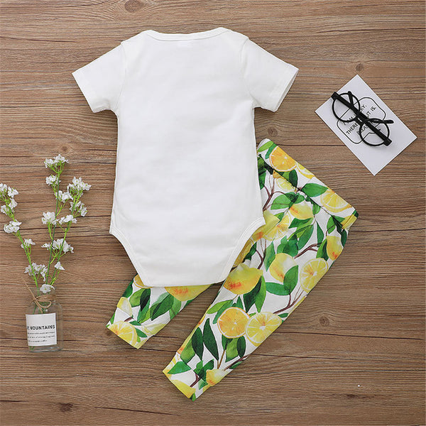 Baby Unisex Fruit Letter Printed Short Sleeve Romper & Pants wholesale baby boy clothes