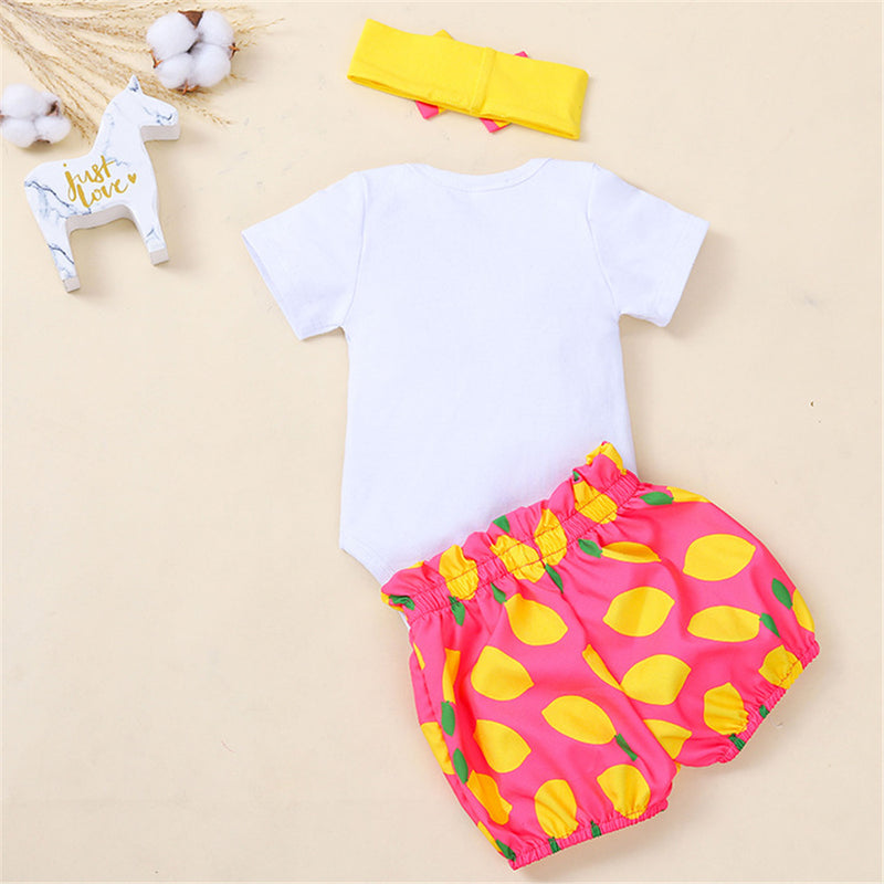 Baby Girls Fruit Letter Printed Short Sleeve Top & Shorts & Headband Wholesale Clothing Baby