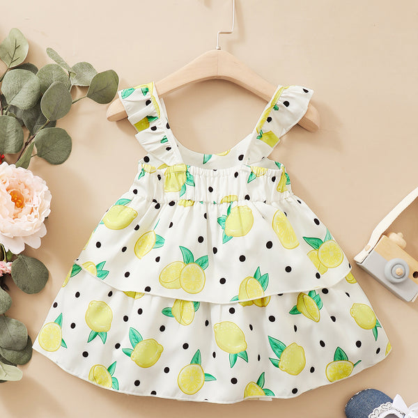 Baby Girls Fruit Polka Dot Printed Flutter Sleeve Dress Wholesale Baby Dresses