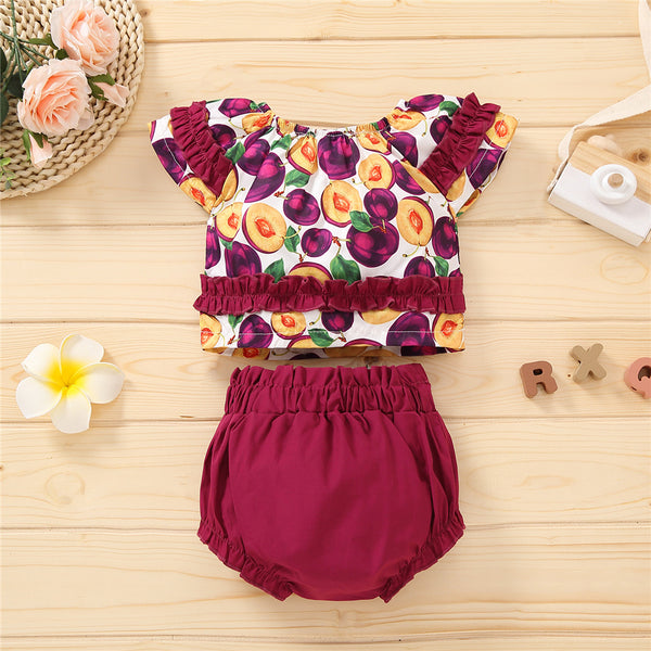 Girls Fruit Printed Short Sleeve Ruffled Top & Shorts wholesale kids clothing suppliers