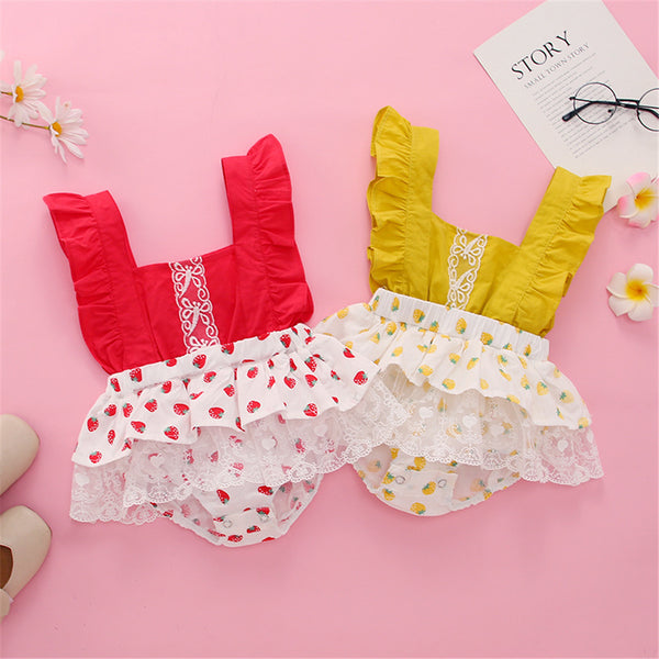 Baby Girls Fruit Printed Suspender Romper cheap baby clothes wholesale