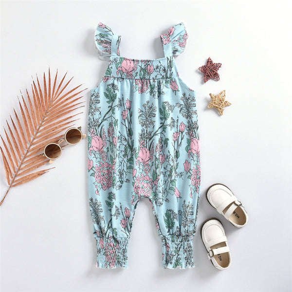 Baby Girls Fyling Sleeve Floral Printed Romper Wholesale Baby Clothes