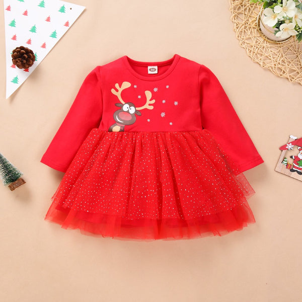 GIrls Christmas Cartonnt Deer Printed Dress Girl Dresses Wholesale