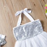 Toddler Girl Sequins Sweet Princess Dress Suspenders Skirt & Headband