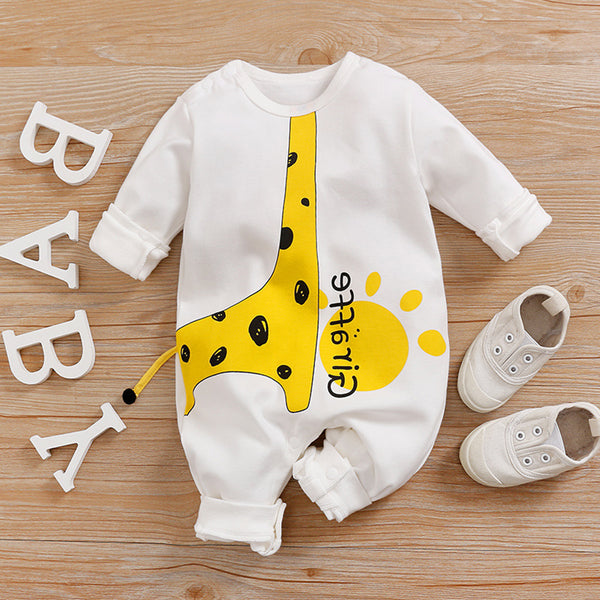 Baby Giraffe Animal Printed Long Sleeve Letter Romper