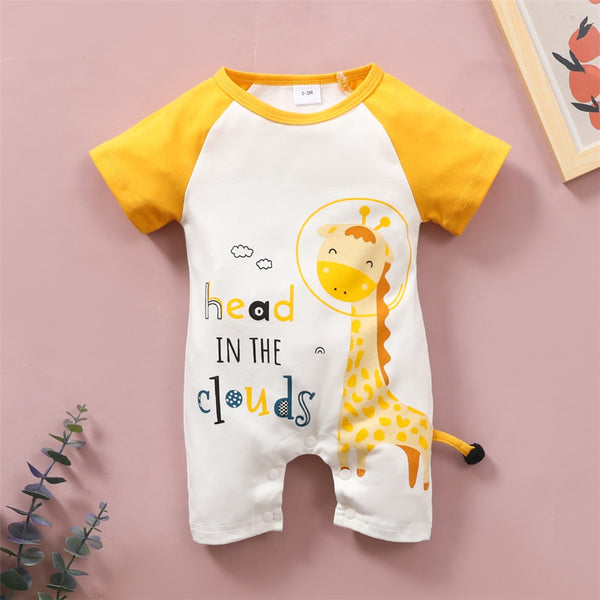 Baby Unisex Giraffe Letter Printed Short Sleeve Romper Baby Clothes Warehouse