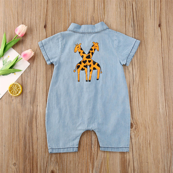 Baby Unisex Giraffe Printed Lapel Cardigan Short Sleeve Denim Romper Cheap Boutique Baby Clothing