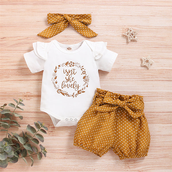 Lovely Baby Girl Letter Printed Short Sleeve Romper &  Polka Dot Short & Headband Baby Wholesale