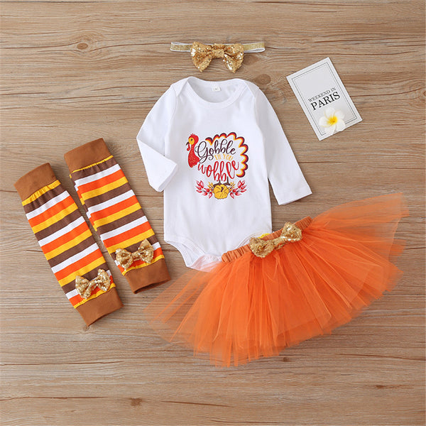Baby Girls 4-Piece Thanksgiving Letter Printed Sets Girls Clothing Wholesalers