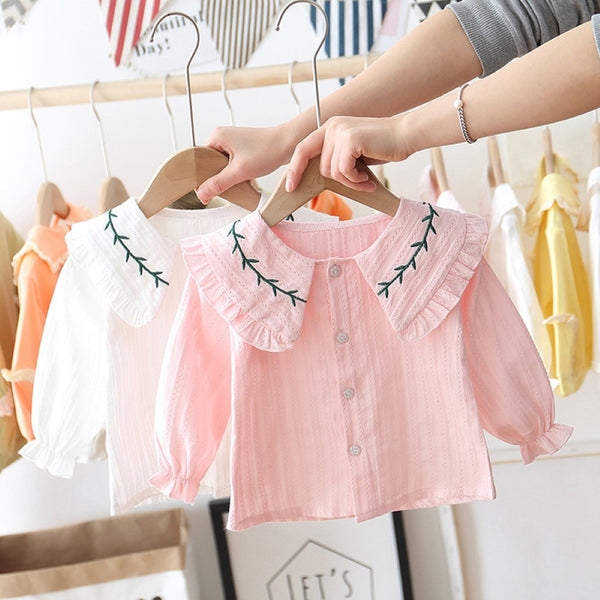Girls Branches Lapel Long Sleeve Blouses Wholesale Girl Clothing