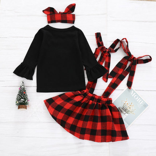 Girls Cartoon Printed Top & Dress & Headband Girls Clothing Wholesale