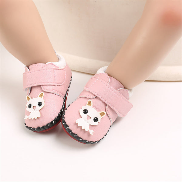 Baby Girls Cartoon Solid Magic Tape Flats Wholesale Kids Shoes