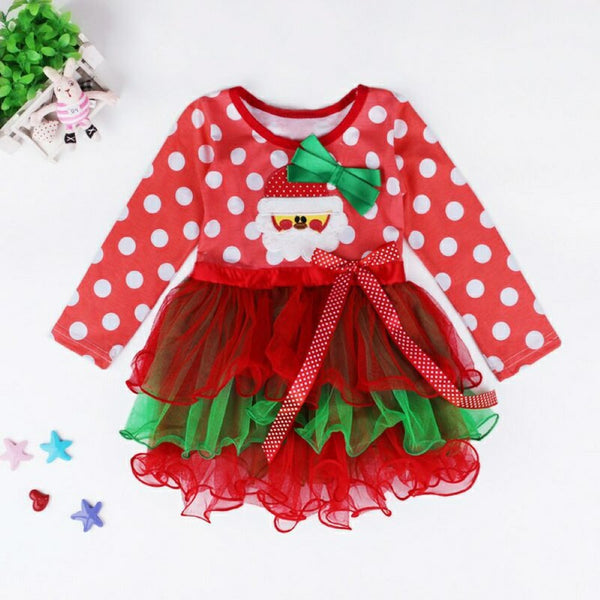 Girls Christmas Bow Decor Dress Girls Dress Wholesale