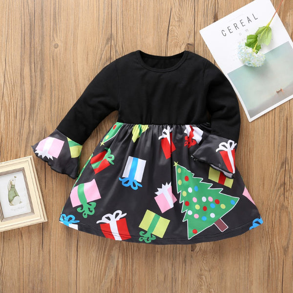 Girls Christmas Tree Print Long Sleeve Dress Girl Wholesale