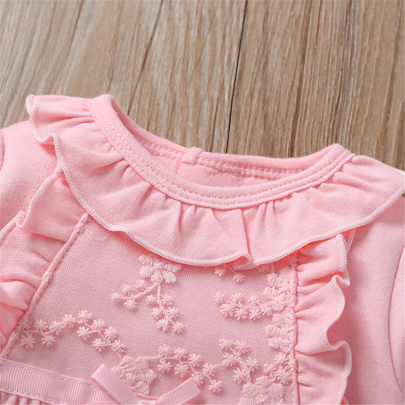 Baby Girls Cute Solid Long Sleeve Rompers