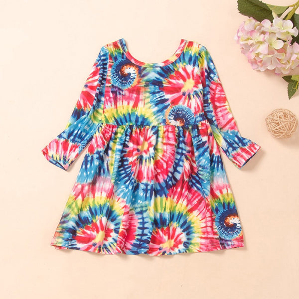 Girls Floral Printed Fashion Dress Wholesale Girl Dresses