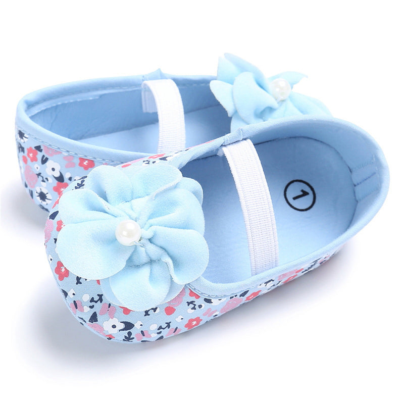 Baby Girls Flower Printed Slip On Shoes Wholesale