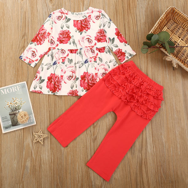 Girls Flowers Printed Long Sleeve Dress & Pants Girls Clothing Wholesalers