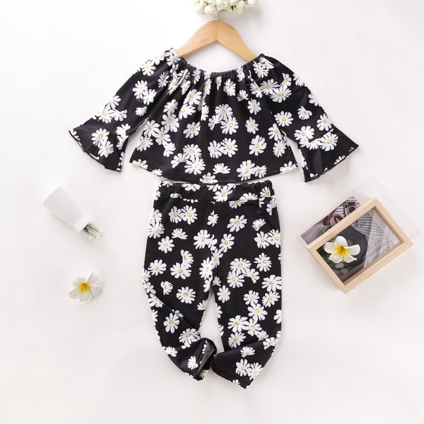 Girls Flowers Printed Top & Pants Girls Clothing Wholesale