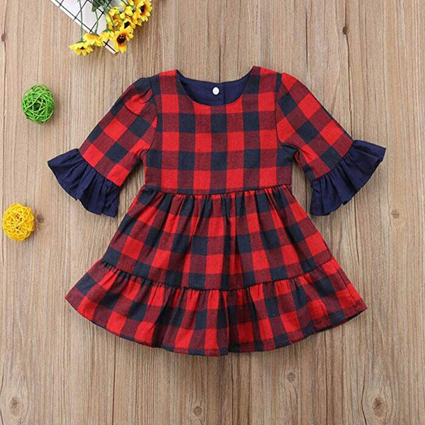 Girls Half Sleeve Round Neck Plaid Dress Cheap Baby Girl Clothes Boutique