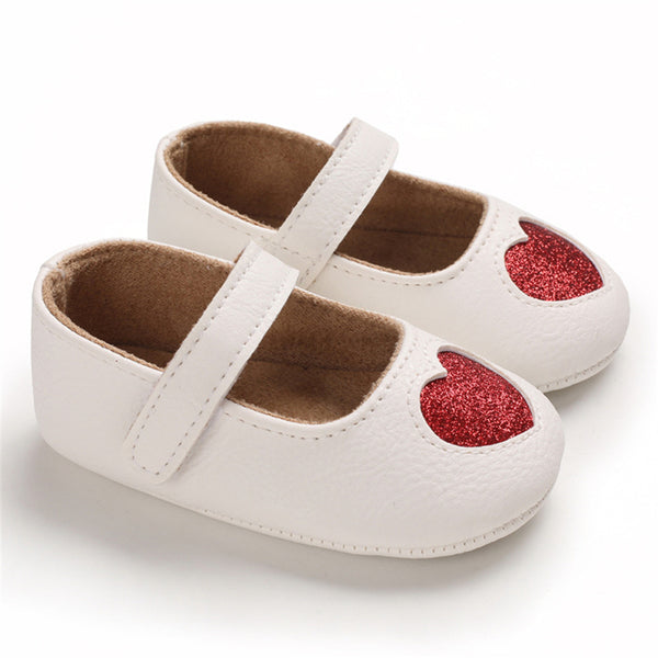 Baby Girls Heart Non-Slip Soft Magic Tape Flats Girls Shoes Wholesale
