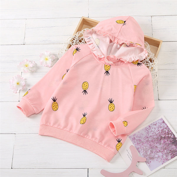Girls Hooded Pineapple Printed Long Sleeve Top Toddler Girl Wholesale Clothing