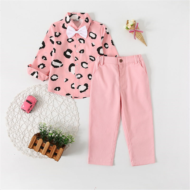 Girls Leopard Bow Decor Pink Shirt & Pants