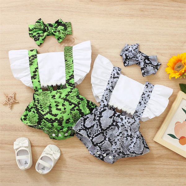 Baby Girls Leopard Printed Casual Flutter Sleeve Romper & Headband Wholesale Baby Clothes