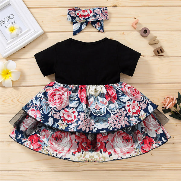 Baby Girls Letter Printed Floral Short Sleeve Dress & Headband wholesale baby clothing