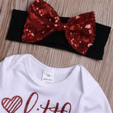Baby Girls Letter Printed Long Sleeve Tops & Tulle Shirt & Headband & Foot Cover