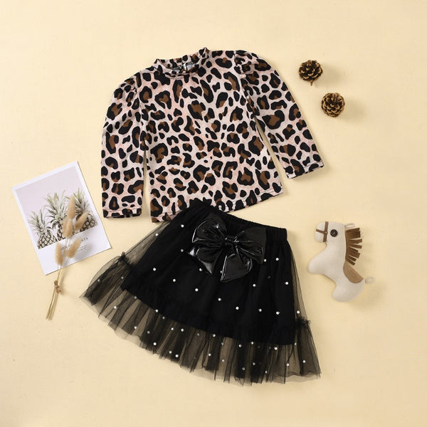 Girls Long Sleeve Leopard Printed Top & Skirts Girls Clothes Wholesale