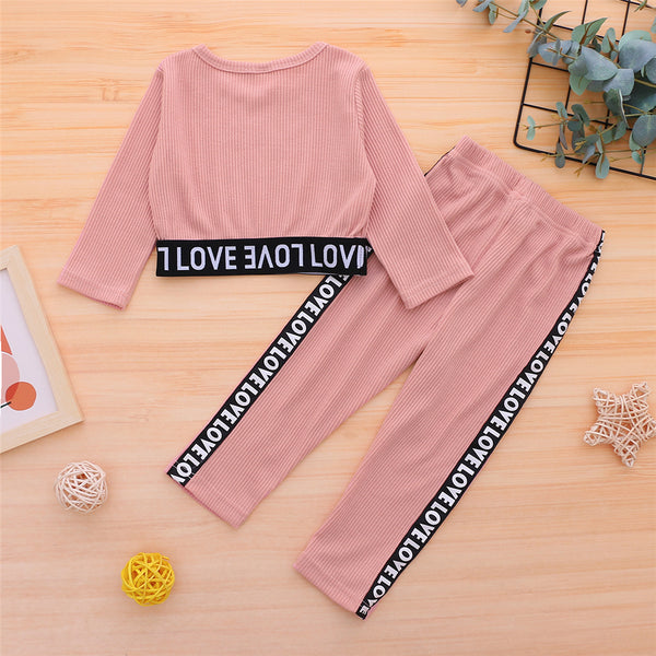 Girls Long Sleeve Letter Printed Top & Pants Wholesale Clothes For Kids