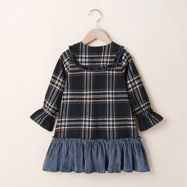 Girls Long Sleeve Patchwork Doll Collar Plaid Dress Wholesale Little Girls Clothes