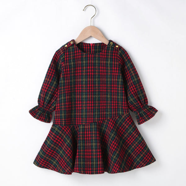 Girls Long Sleeve Plaid Casual Party Dress Girls Clothing Wholesalers