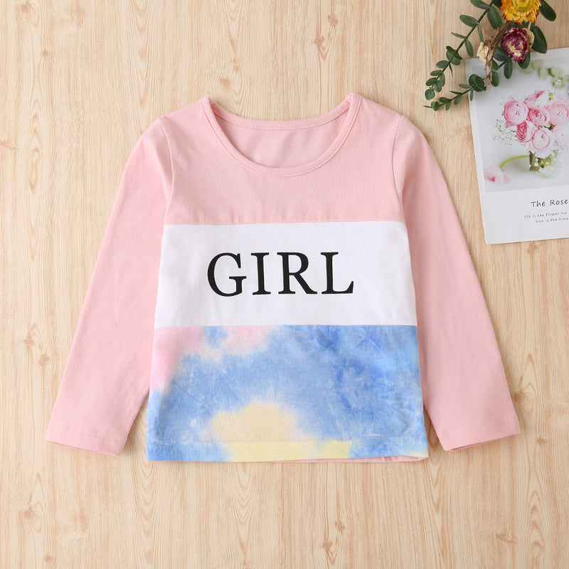 Girls Long Sleeve Printed Letter Stitching Tops&Pants Girls Wholesale Clothing
