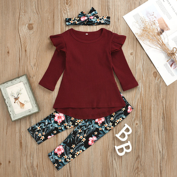 Girls Long Sleeve Solid Tops&Floral Pants&Headband Girls Clothing Wholesalers