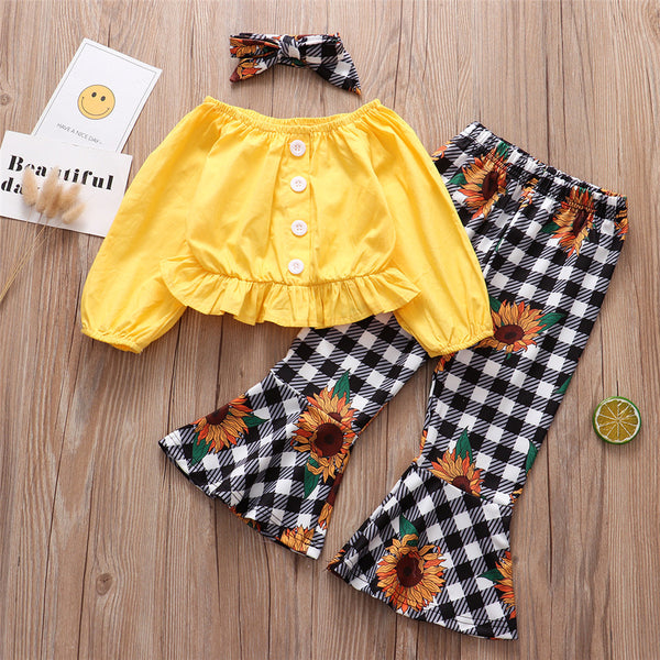Girls Long Sleeve Solid Tops&Floral Flare Pants Wholesale Baby Girl Clothes