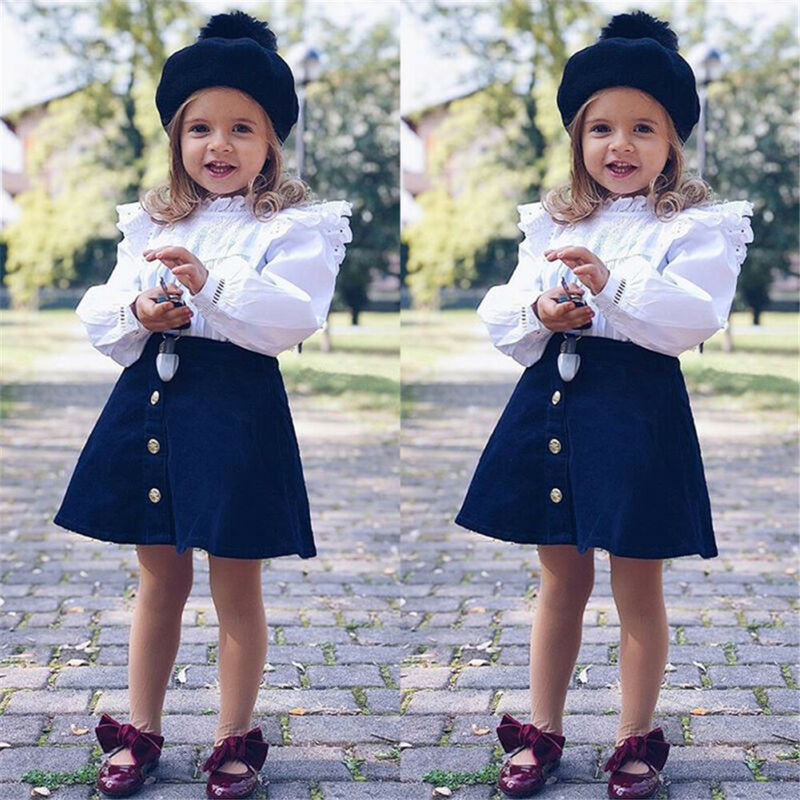 Girls Long Sleeve Tops Shirts&Solid Skirt Little Girl Outfits Little Girl Outfits