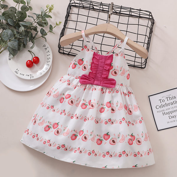 Baby Girls Peach Fruit Printed Suspender Dress