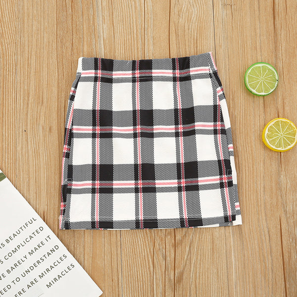 Girls Plaid Color Contrast Skirts trendy kids wholesale clothing
