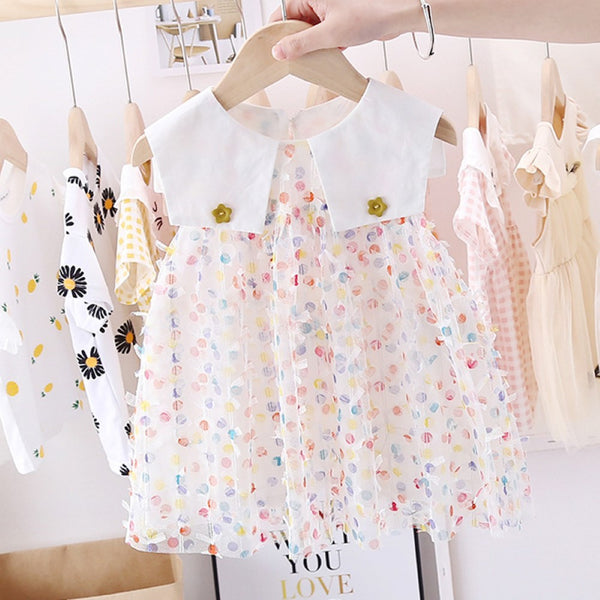 Girls Polka Dot Flower Bottons Dress Wholesale Girl Dresses