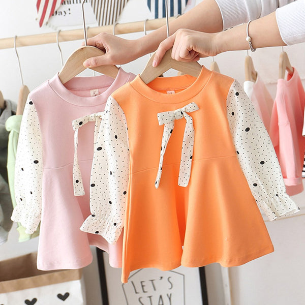Girls Polka Dot Long Sleeve Dress Wholesale Girl Dresses
