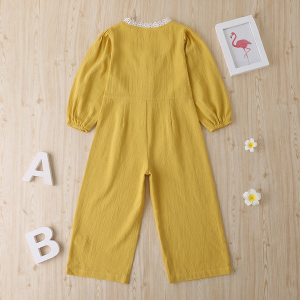 Girls Puff sleeve Solid Casual Jumpsuits Wholesale Girls Clothes