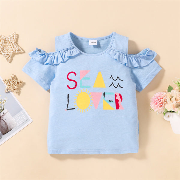 Girls Short Sleeve Cartoon Sea Love Printed Strapless Top Girl T Shirts Wholesale