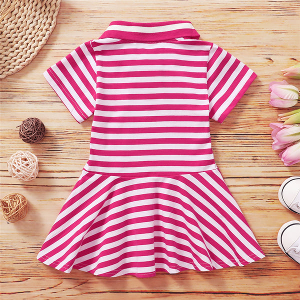 Girls Short Sleeve Lapel Striped Dress wholesale kids clothing